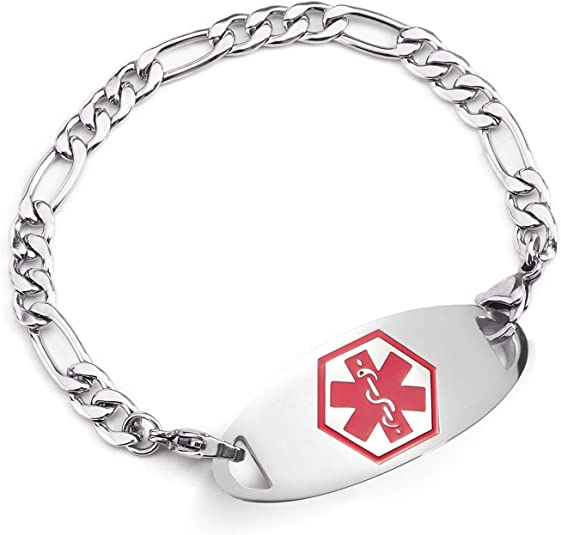 BBX JEWELRY Medical Alert Bracelets Interchangeable Red ID Tag with Stainless Steel Figaro Chain for Women Girls