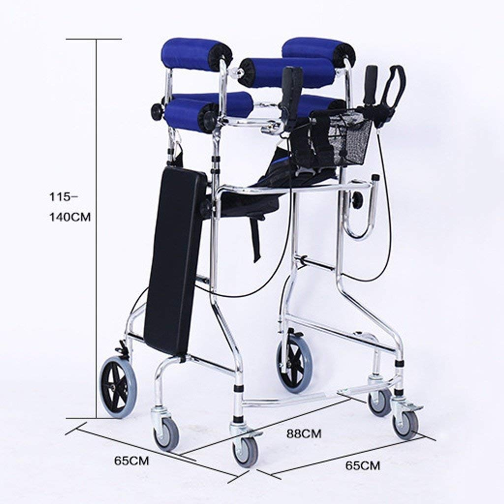 Folding Six-Wheel Roller Walker with Seat Adjustable Height Aluminum Walking Frame Suitable for Elderly Disabled Lower Limb Training Standard Walker Auxiliary Walking Safety Walker (Color : Blue) by YL WALKER (Image #3)