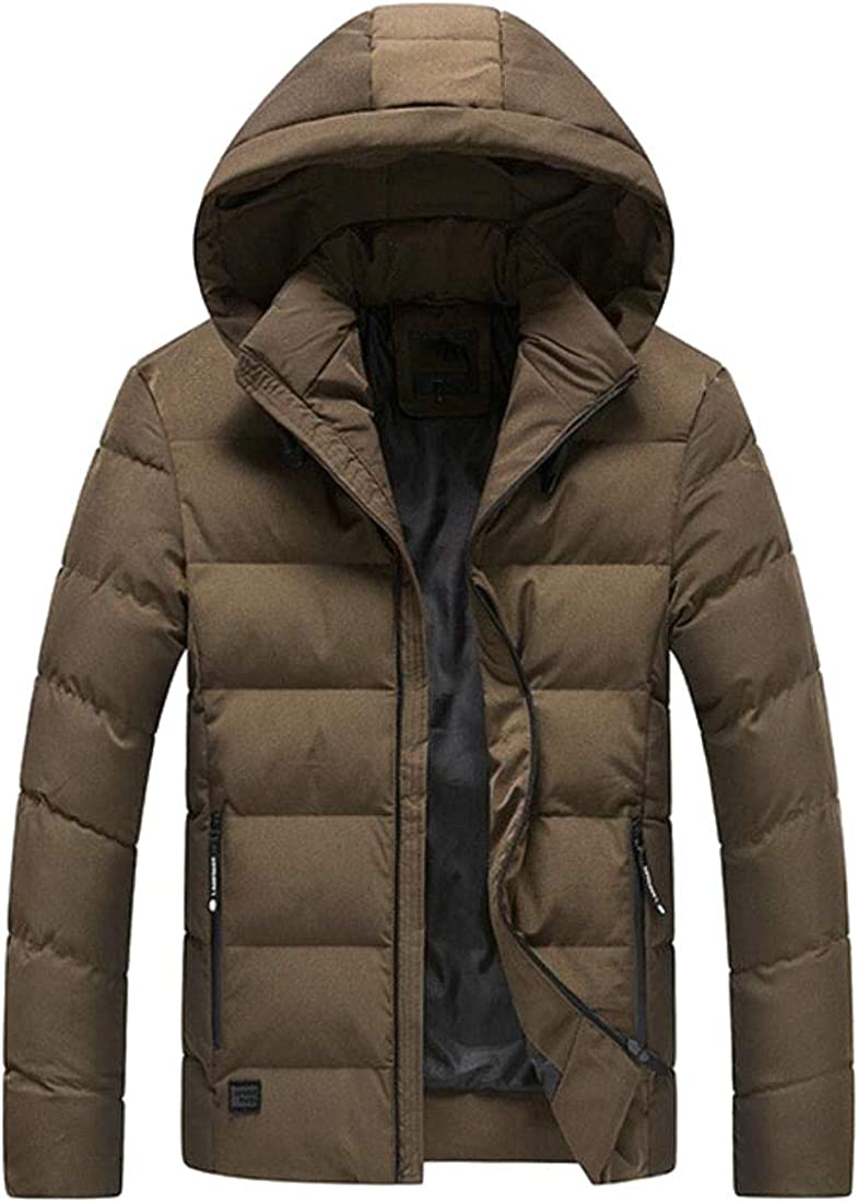 WSPLYSPJY Mens Lightweight Quilted Hooded Packable Down Jacket Puffer Coat Brown 2XL