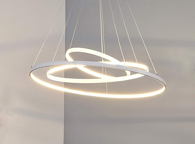 Lampadario a sospensione LED moderno 3 anelli di design a luce fredda