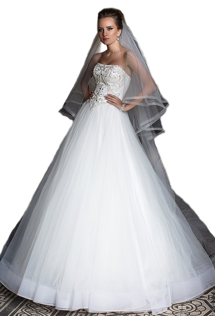 Passat Pale Ivory Two-Tier 3M Cathedral Horsehair-Edge Wedding Face Veil with Blusher 307