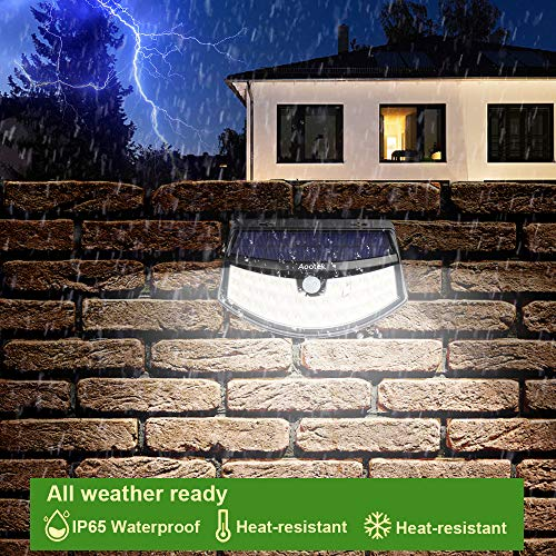 New Solar Lights(4Pack) Upgraded High Efficiency LEDs with 11.8 in² Solar Panel, 3 Optional Modes Sensitive PIR Motion Sensor Light with Wide Angle, IP65 Waterproof Solar Outdoor Security Wall Lights by Aootek (Image #4)