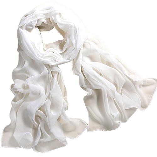 Oyedens da donna sciarpa lunga morbido chiffon Candy colore