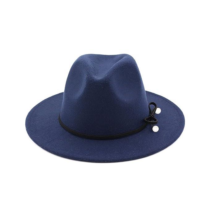 Donna Ragazze Moda Autunno Inverno Fiocco Nodo Perla Cappello Di Jazz  Trilby Cappelli Blu Marino  Amazon.it  Abbigliamento e0117e538320