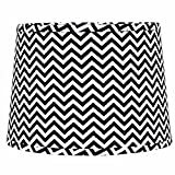 Home Collection by Raghu 4D790011 Black & White Chevron Washer Drum Lampshade, 14''