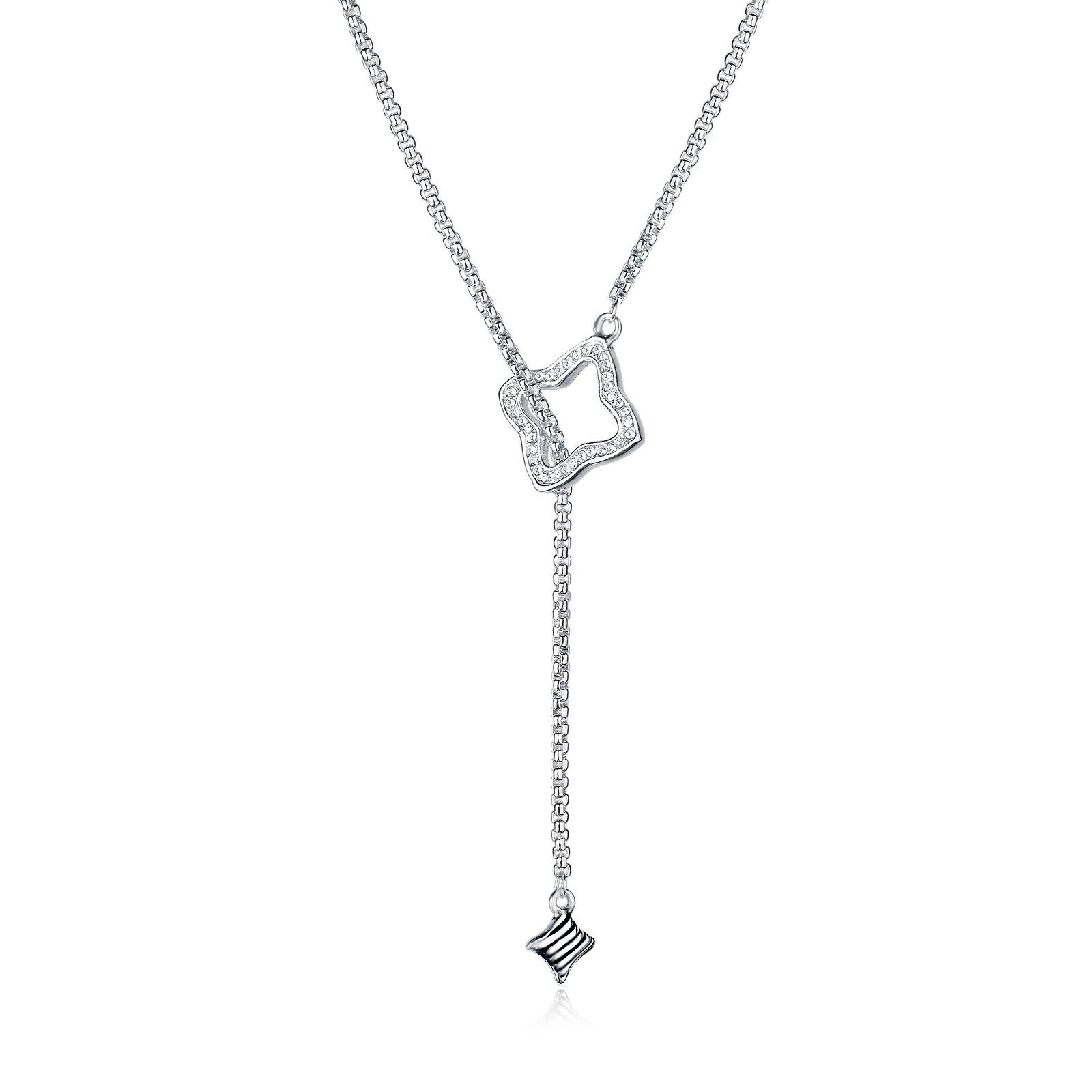 UNY New Style Trendy Elegant Vintage Retro Unique Pave Stone David Fahsion style Box Chain Women Long Necklace