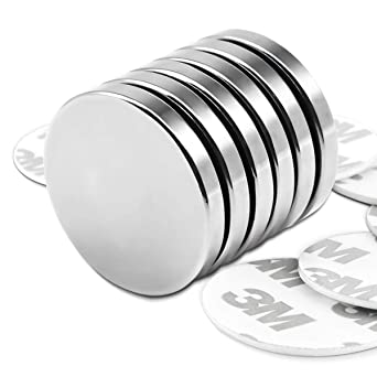 LOVIMAG Strong Neodymium Disc Magnets with Double-Sided Adhesive Powerful Rare Earth Magnets Perfect for Fridge Scientific DIY Building Pack of 8 Craft and Offic 1.26 inch x 0.08 inch