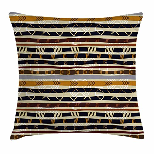 Tribal Throw Pillow Cushion Cover by Ambesonne, Ethnic African with Trippy Geometric Forms Primitive Heritage Wild Earthen Pattern, Decorative Square Accent Pillow Case, 24 X 24 Inches, (Earthen Patterns)