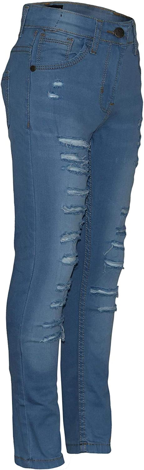 Kids Girls Stretchy Jeans Denim Ripped Faded Fashion Ragged Skinny Pants Jegging