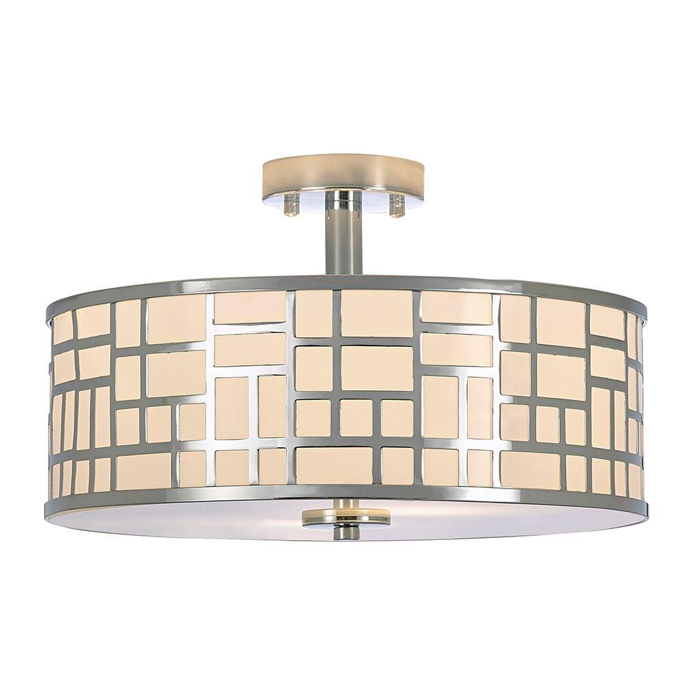 POPILION 16 Inch Modern Design Metal Chrome Finish Flush Mount Ceiling Light, Ceiling Lighting For Kitchen Dining Room Bedroom