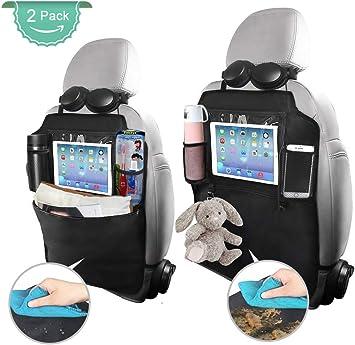 2 Pack Car Back Seat Organizer,Washable Multi Purpose Kick Mats Car Seat Back Protector,Multi-Pocket Storage for Toy//Bottles//Umbrella//10 iPad