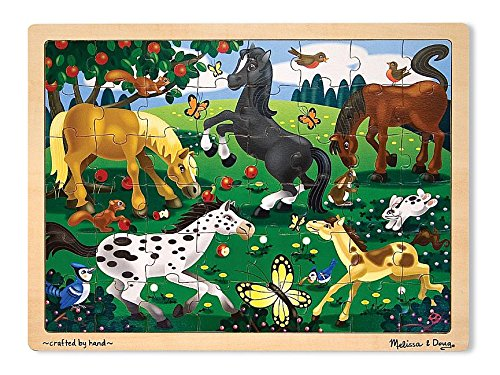 (Melissa & Doug Frolicking Horses Wooden Jigsaw Puzzle With Storage Tray (48 pcs))