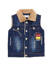 QJH Baby Boys Fashion Denim Vest With Fleece Lapel Collar Kids Velvet Vest
