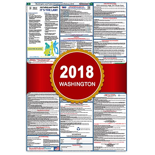 2018 Washington State And Federal Labor Law Posters   Laminated 27  X 40