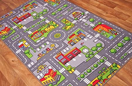 The Rug House Children\'s Play Village Mat Town City Roads Rug 100cm ...