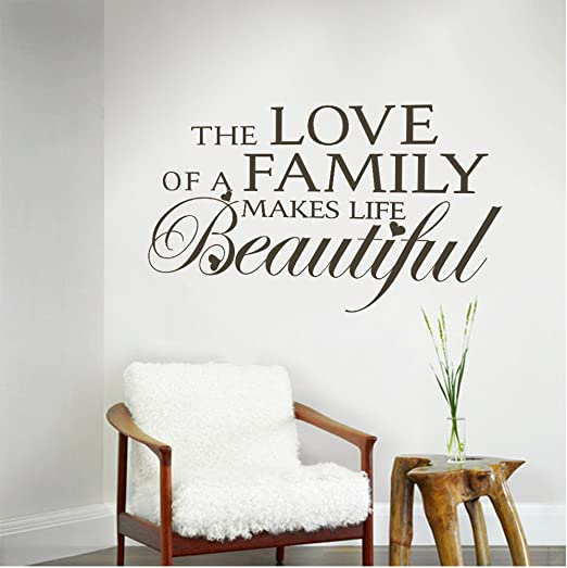 Family Quotes The Love Of A Family Makes Life Beautiful Love Vinyl Wall Decals Art Sticker Decor Custom Large Amazon Co Uk Kitchen Home