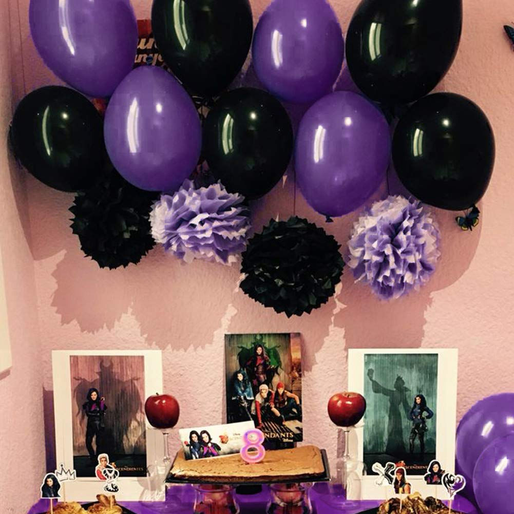 b9e06d78eaf1a1 Amazon.com  PartyWoo Black and Purple Balloons 40 Pcs 12 Inch Purple  Balloons Black Balloons Black Marble Balloons for Vampirina Party