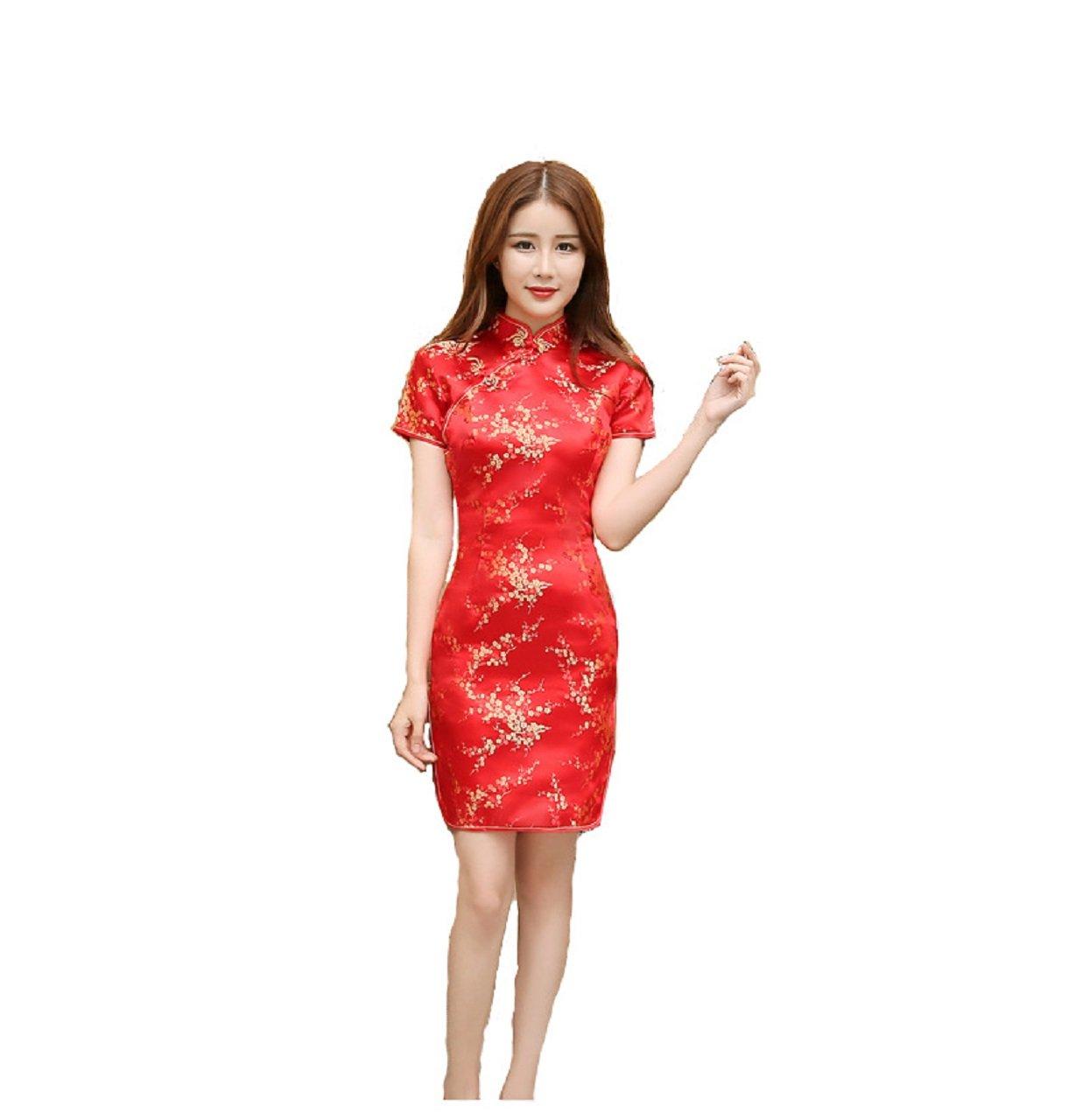 Kurop Women's Sexy Red Floral Mini Chinese Evening Dress Wedding Dress Cheongsam Qipao Flower Printing (M (US 2-4), Red Floral Mini)