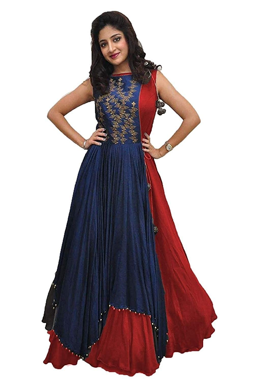 95828f83584 Drashti villa Women s Banglory Silk Embroidered Gown with Jacket (Free Size)  (Blue-Red)  Amazon.in  Clothing   Accessories