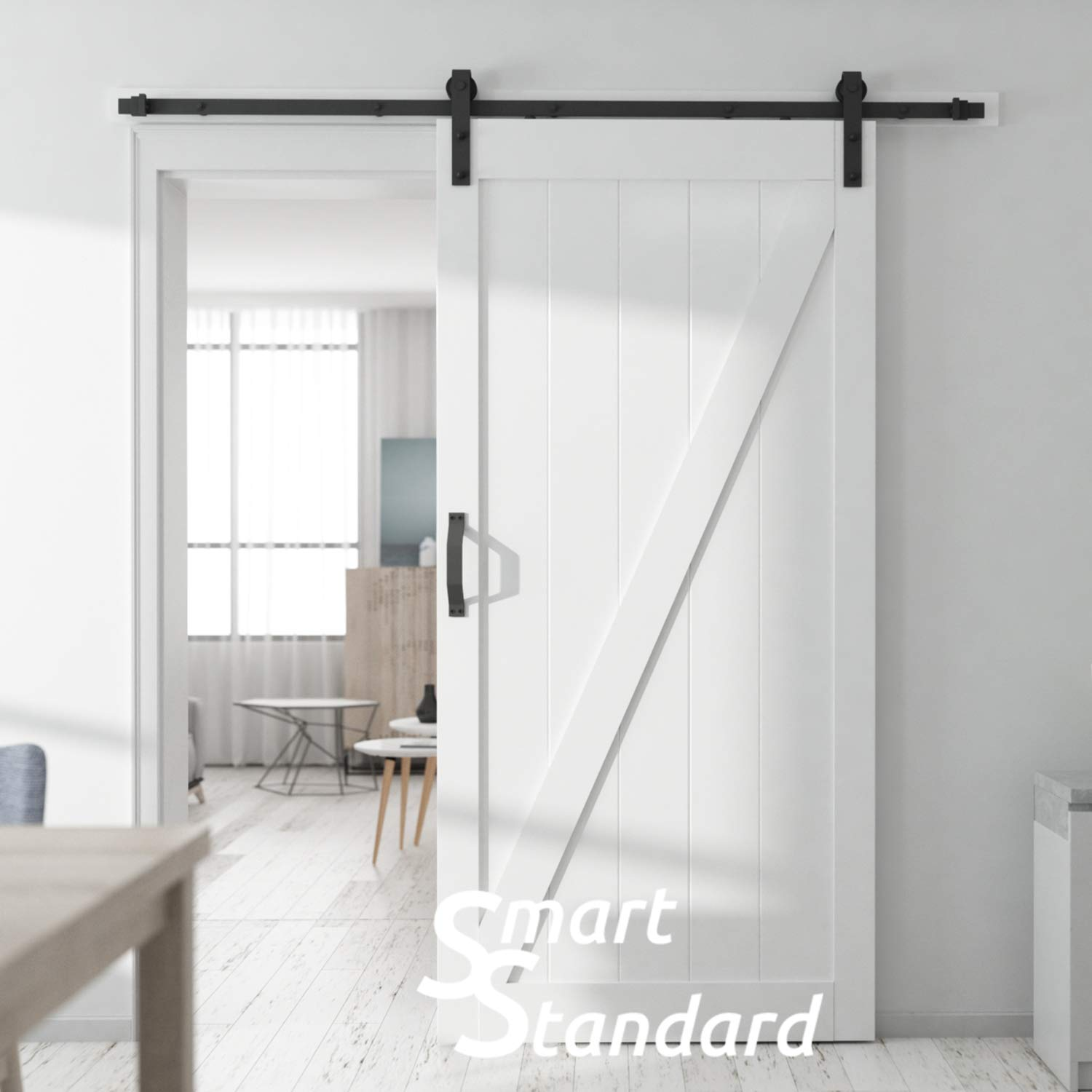 SMARTSTANDARD 36in x 84in Sliding Barn Door with 6.6ft BarnDoor Hardware Kit & Handle, Pre-Drilled Ready to Assemble Wood Slab Covered with Water-Proof PVC Surface (White Z-Frame Panel), by SMARTSTANDARD (Image #8)