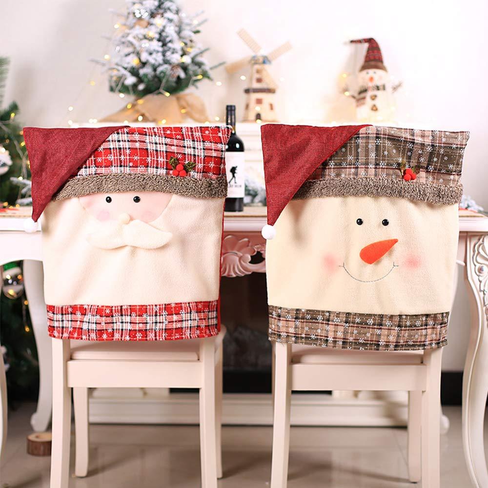 Xmas Chair Cap Set of 4 PCS Santa Claus Snowman Red Flip Hat Chair Back Covers Snowflake Plaid Dinner Chair Xmas Cap Coverings Chair Sets for Christmas Holiday Festive Decor,2 Santa Claus + 2 snowman