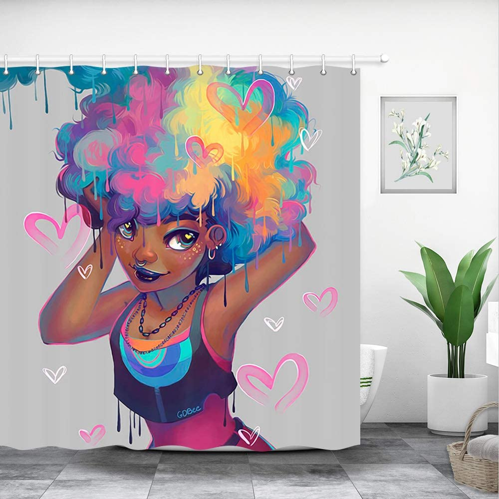 Afro Hair African Girl Pink Hearts Fabric Shower Curtain Set Bathroom Accessory