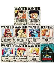 FFNNKN One Piece Wanted Posters New Edition Luffy 1.5 Billion Anime Nami Sanji Roronoa Zoro Decorative Poster Set of 10Pcs 42 * 29cm