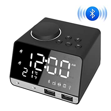 AYQ Reloj Despertador Digital, Radio Reloj, Puerto de Carga Dual USB, Altavoz Bluetooth