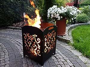 Diseño Cesta Bomberos Acero Fuego columna oxidado fabricado en Alemania * Diseño Talla L Flores *