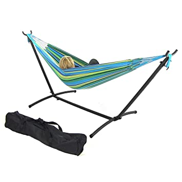 sunnydaze brazilian double hammock with stand 2 person portable hammock bed for indoor or amazon     sunnydaze brazilian double hammock with stand 2      rh   amazon