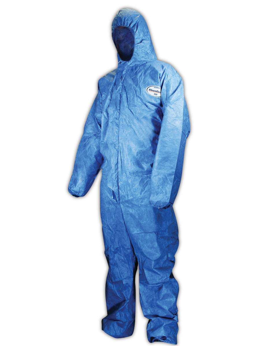 Kimberly-Clark 45024 Blue KLEENGUARD A60 Bloodborne Pathogen and Chemical Splash Protection Coverall, X-Large (Case of 24)