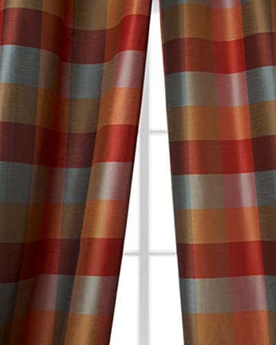 Avalon 4 inches blue,red gold checkered faux silk curtain 52 W X 108 L