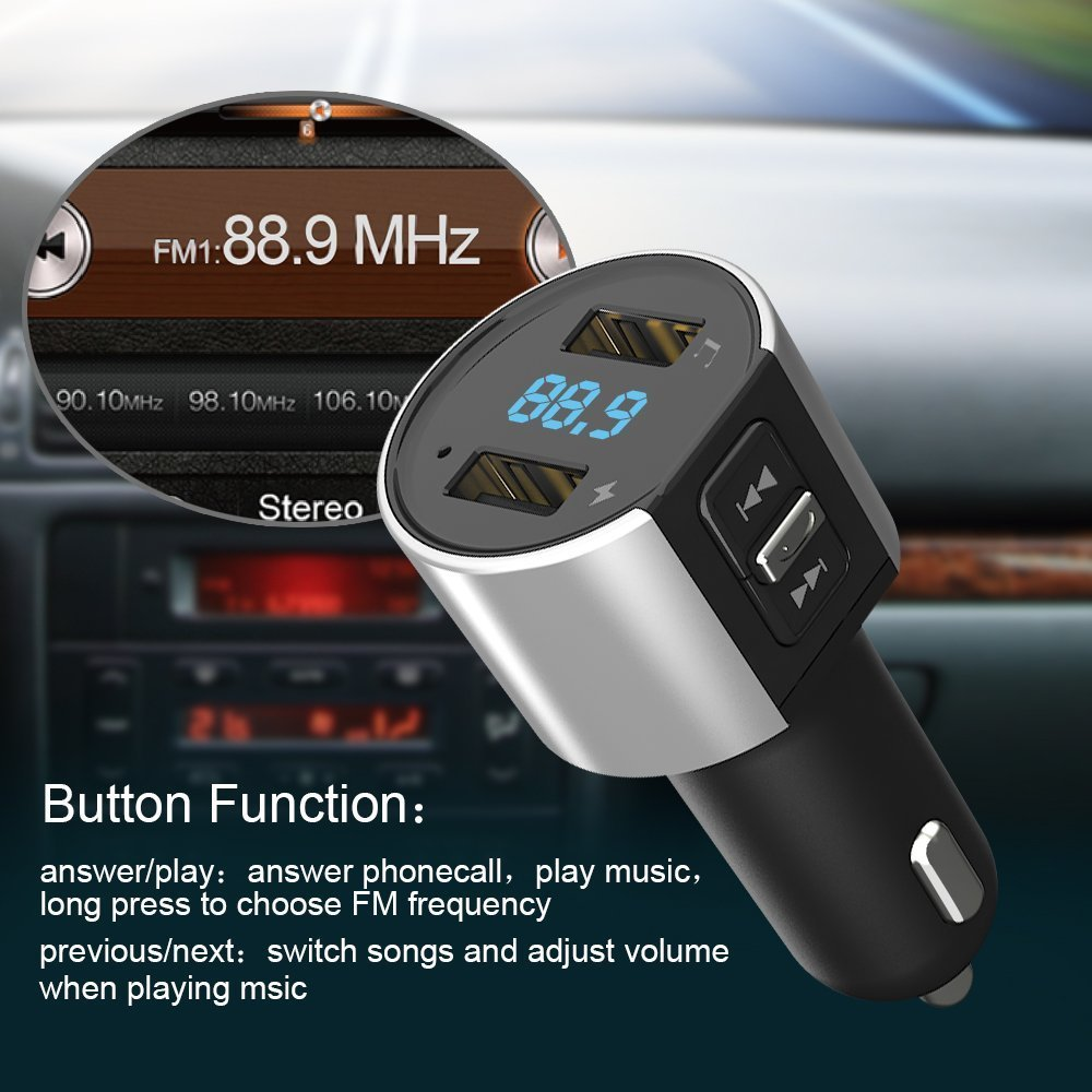 Bluetooth FM Transmitter, Car Charger, Wireless Bluetooth FM Radio Adapter Car Kit FM Transmitter Radio Adapter and MP3 Music Player Control 3.4A Car Charger, Dual USB Ports Charge C26S by Foneda (Image #8)