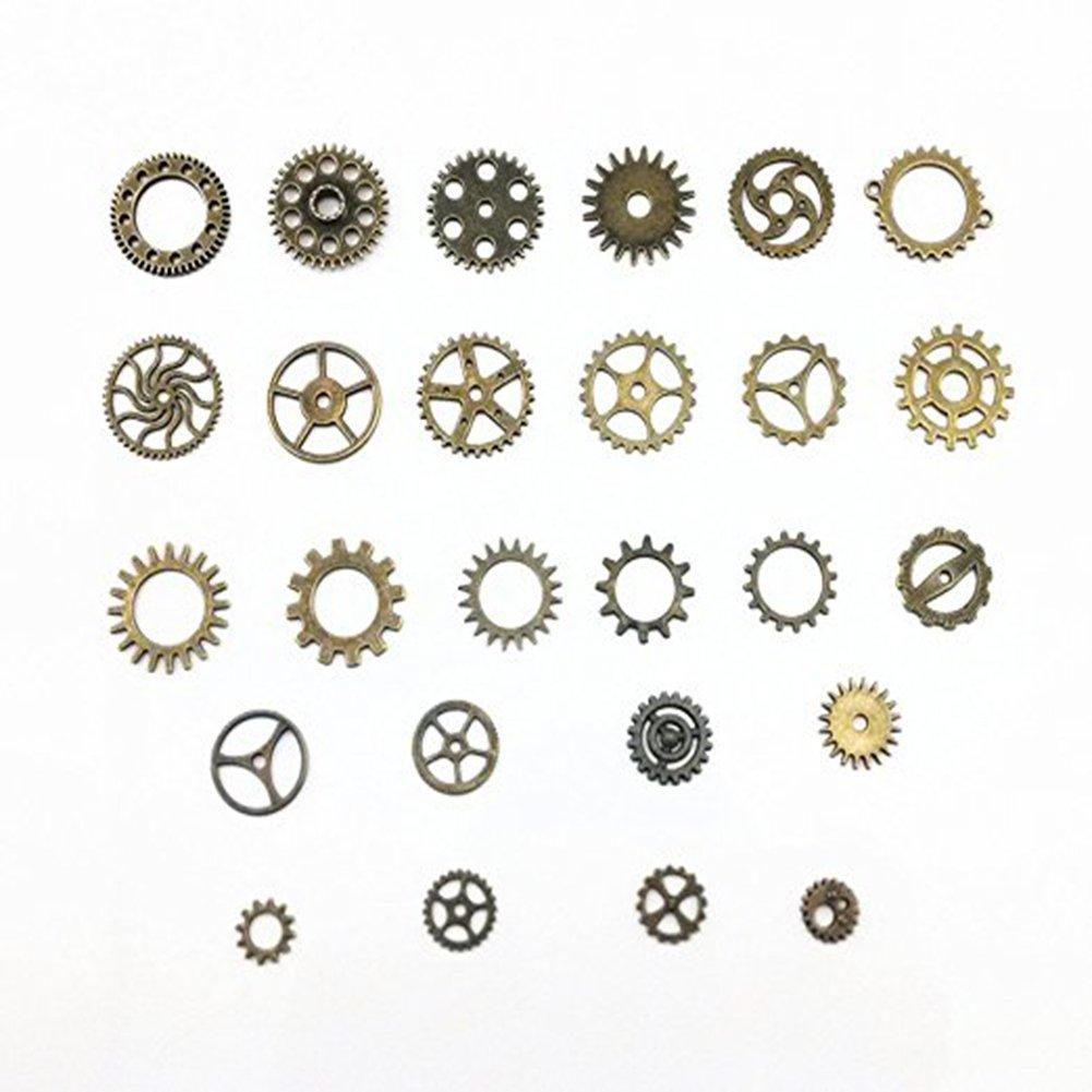 environ100 g bronze Alliage montres roues pour les loisirs cr/éatifs et la confection de bijoux 10mm-26mm engrenages BeToper Lot d/'environ 70 breloques assorties style Steampunk