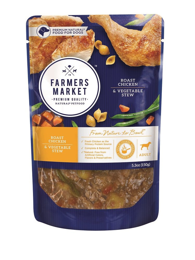 Farmers Market Pet Food Premium Natural Wet Dog Food Pouch, 5.3 oz, Roast Chicken & Vegetables (Case of 24)