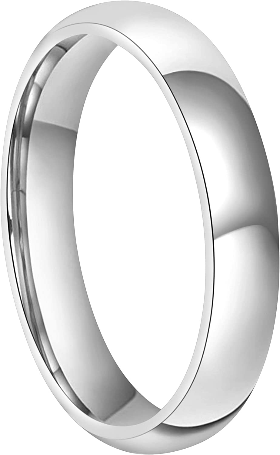 RoyalKay 4mm 6mm 8mm Titanium Wedding Band Ring Men Women Plain Dome Rounded High Polished Comfort Fit Size 4 To 16