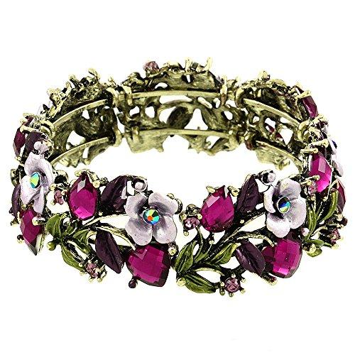 - Falari Vintage Flower Bracelet Bangle Crystal Beads Hand-Painted Purple BG401-AGPP