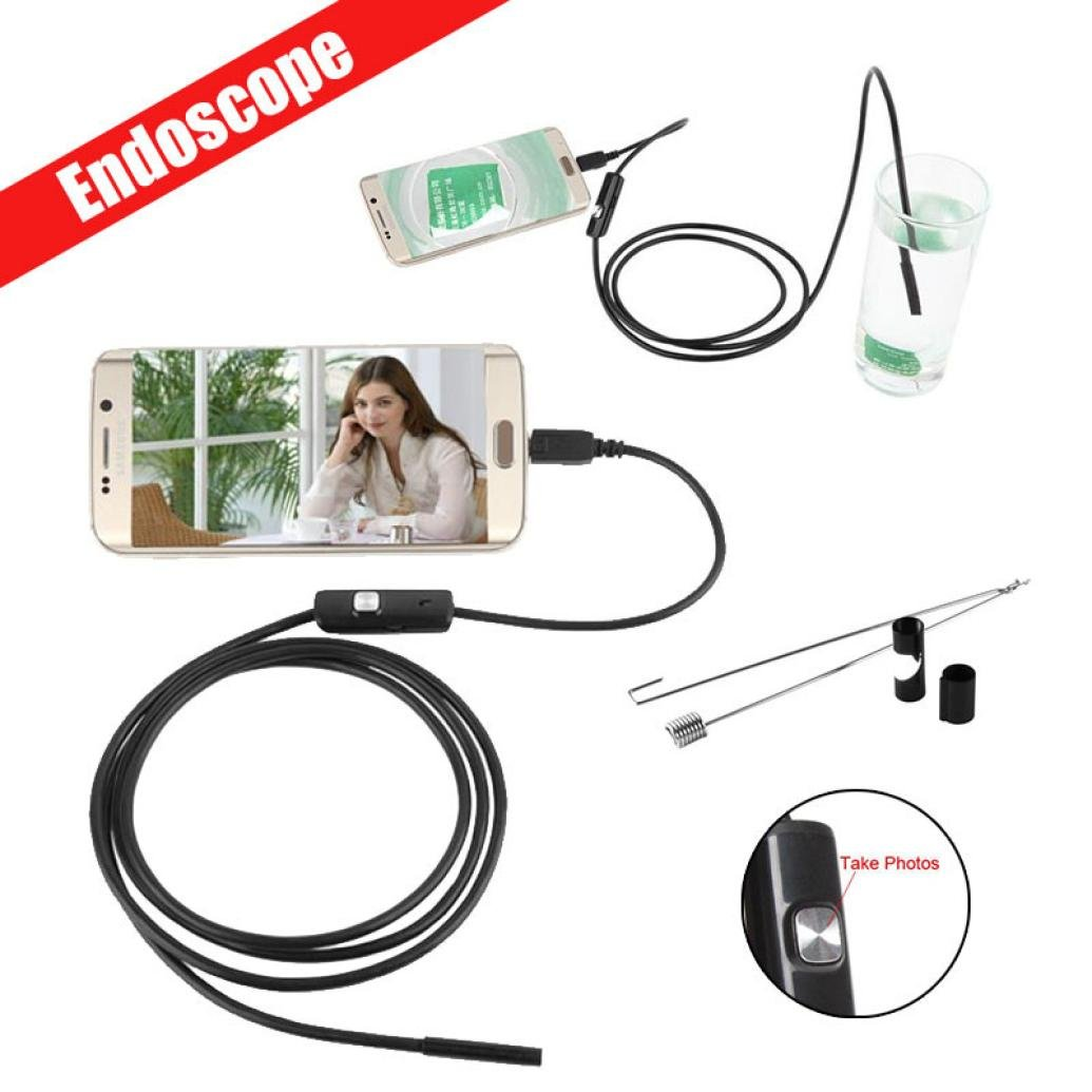 Waterproof Endoscope ,Vanvler 5.5mm Borescope Inspection Camera 6 LED for Andorid Phone (Black)