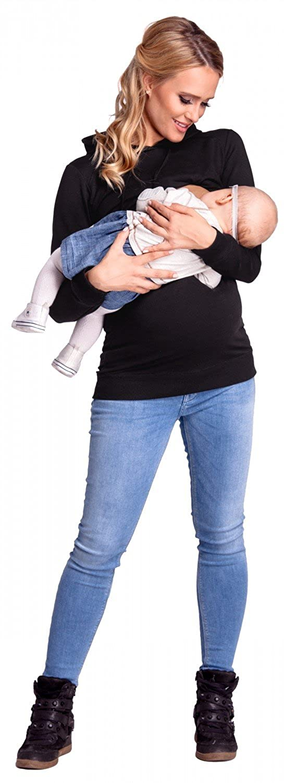 272p Womens Nursing Hoodie Breastfeeding Sweatshirt Top Maternity Happy Mama Black, UK 16, 2XL