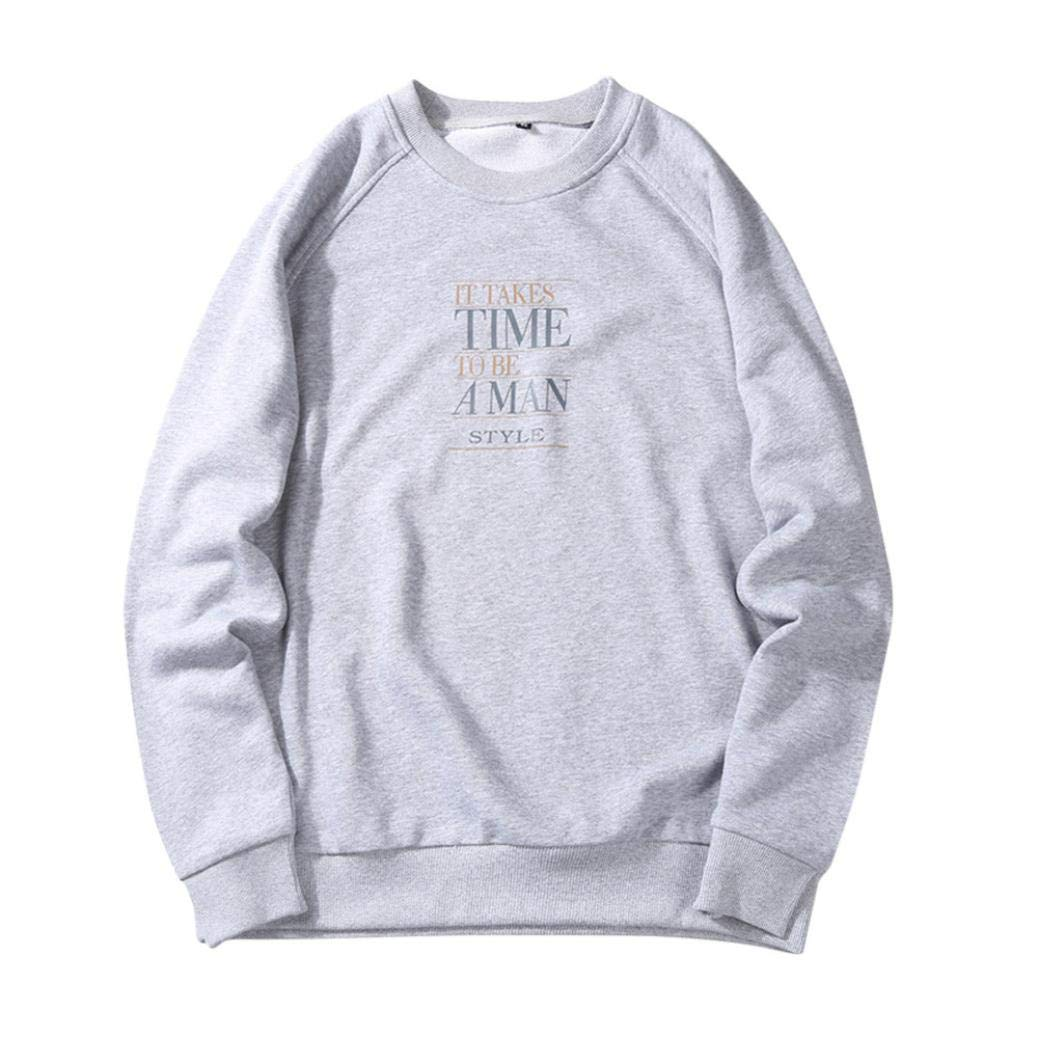 kaifongfu Pullover Tops,Men Loose Long Sleeve Hoodie Top Fit Blouse with Letter for AutumnGrayXL