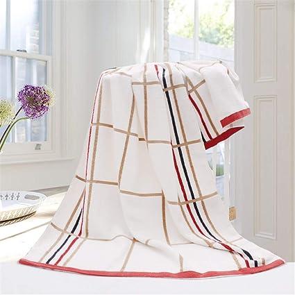 Shenhai Toallas de baño Toallas algodón a Cuadros Suaves y absorbentes Modelos Gruesos para Adultos Rojo