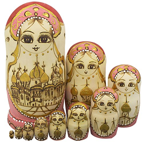 Winterworm Cute Handmade Wooden Traditional Russian Girl in Moscow Kremlin Traditional Russian Nesting Dolls Matryoshka Dolls Set 10 Pieces for Kids Toy Home Decoration