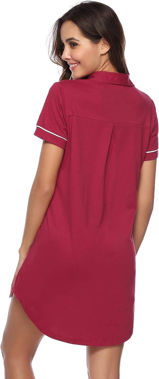 Hawiton Damen Nachthemd Kurz Sommer Nachtw/äsche Sleepshirt Nachtkleid aus Baumwolle Rundhals Kurzarm
