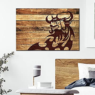 Canvas Wall Art - Bull Pattern on Vintage Wood Background - Giclee Print Gallery Wrap Modern Home Art Ready to Hang - 12x18 inches