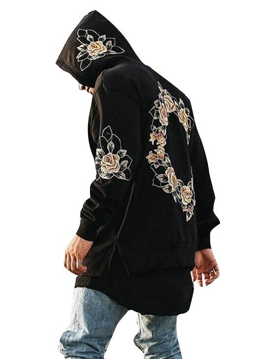 LD Mens Stylish Rose Floral Print Long Sleeve Loose Hoodies Sweatshirt at Amazon Mens Clothing store: