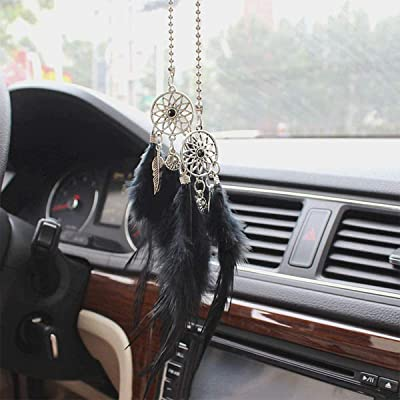 Car Rear View Mirror Hanging Pendant, Feather Dream Catcher Crystal Charm Bling Car Deco Accessories for Women (Black): Automotive