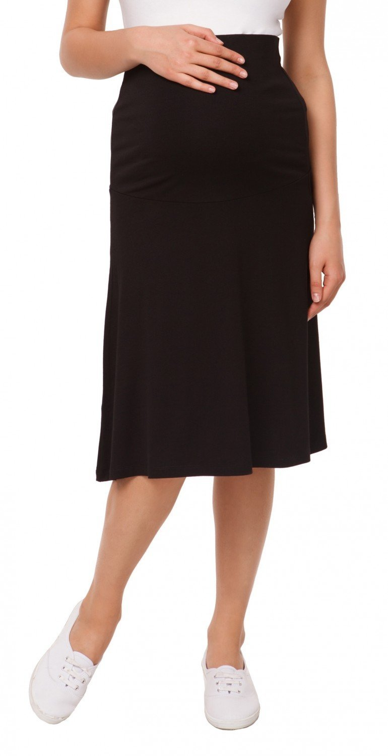 Happy Mama Womens Maternity Skater Skirt Overbump Elastic Panel Pregnancy. 983p (Black, US 6/8, M)