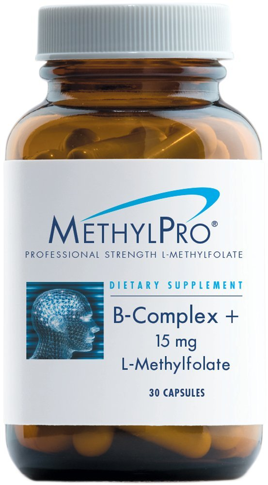 MethylPro L-Methylfolate 15 Milligrams + B-Complex - Active Folate for Energy + Mood Support with Methyl B12 + B6 as P-5-P (30 Capsules)