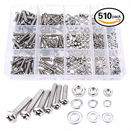 glarks-510-pieces-pan-head-stainless-steel-screws-nuts-lock-and-flat-gasket-washers-assortment-kit