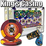 600 Ct Kings Casino Acrylic Poker Chip Set with 6 Clear Chip Trays